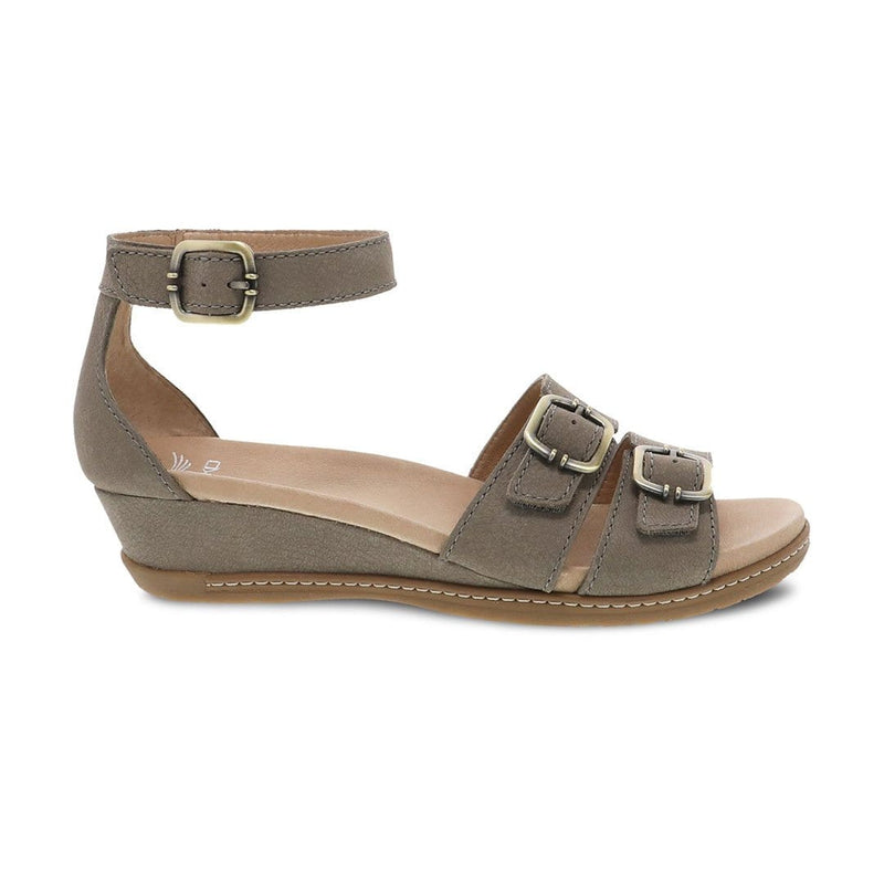 Dansko Astrid Womens Adjustable Leather Wedge Sandal Stone Textured Nubuck | Simons Shoes
