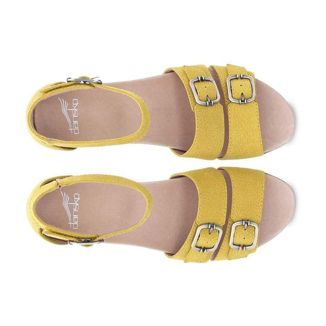 Dansko Astrid Womens Adjustable Leather Wedge Sandal Yellow Textured Nubuck | Simons Shoes