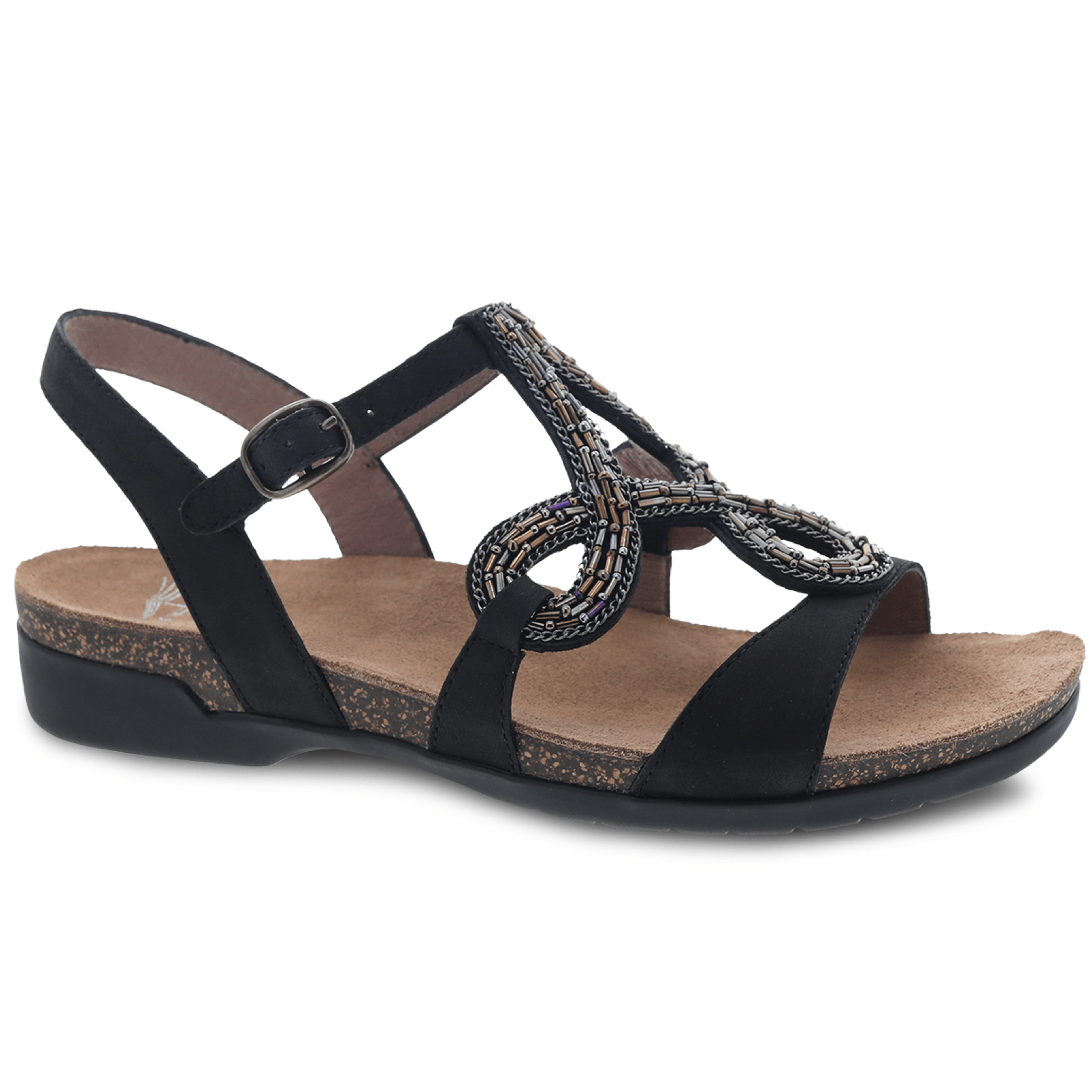 Dansko Reeta Women's Leather Cork Beaded Gladiator Flat Sandal Shoe