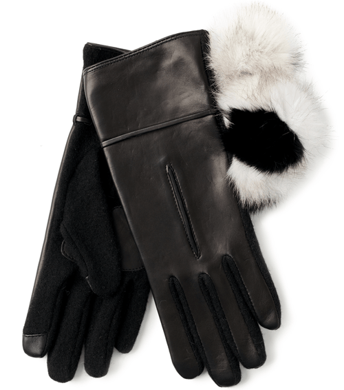 Echo Design Women's Fur Pom Leather Gloves (EG0047)