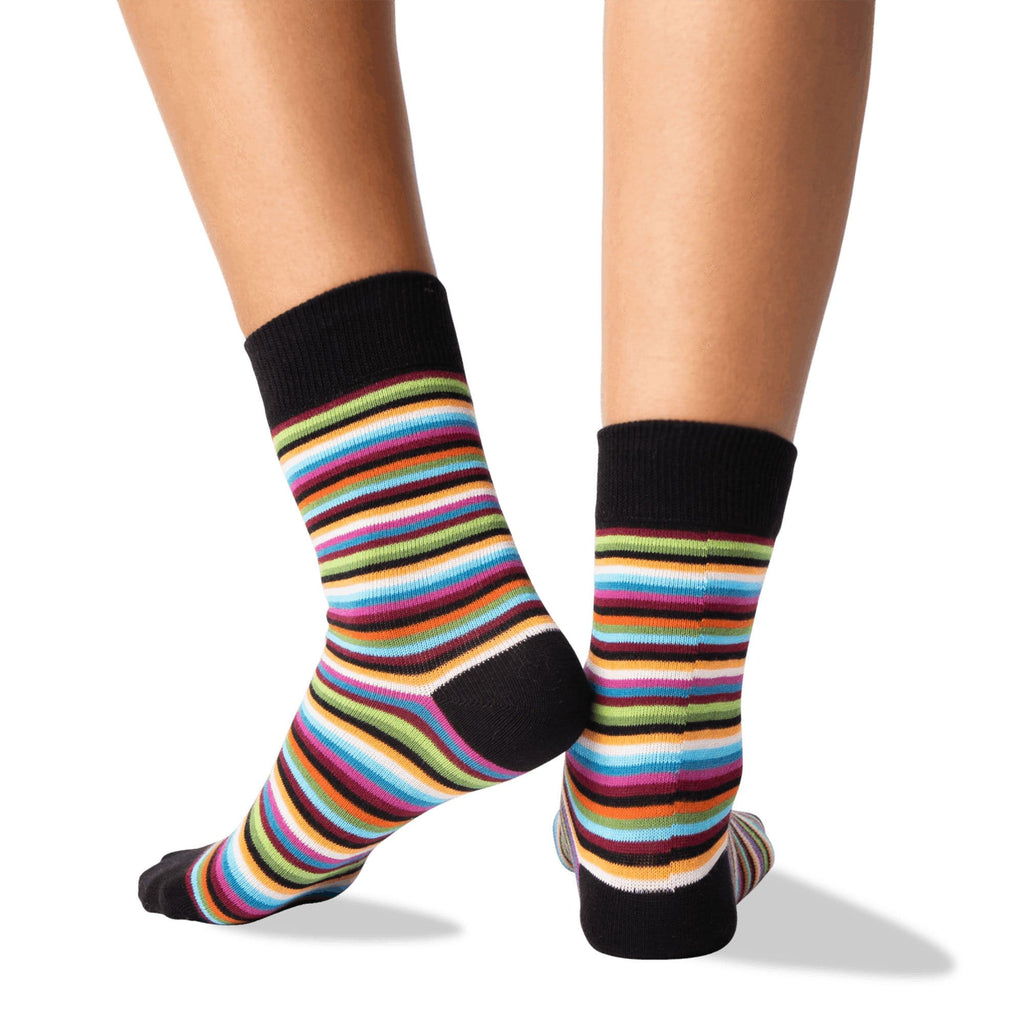 Hot Sox Classic Stripe Women's Crew Socks Cotton Blend | Simons Shoes
