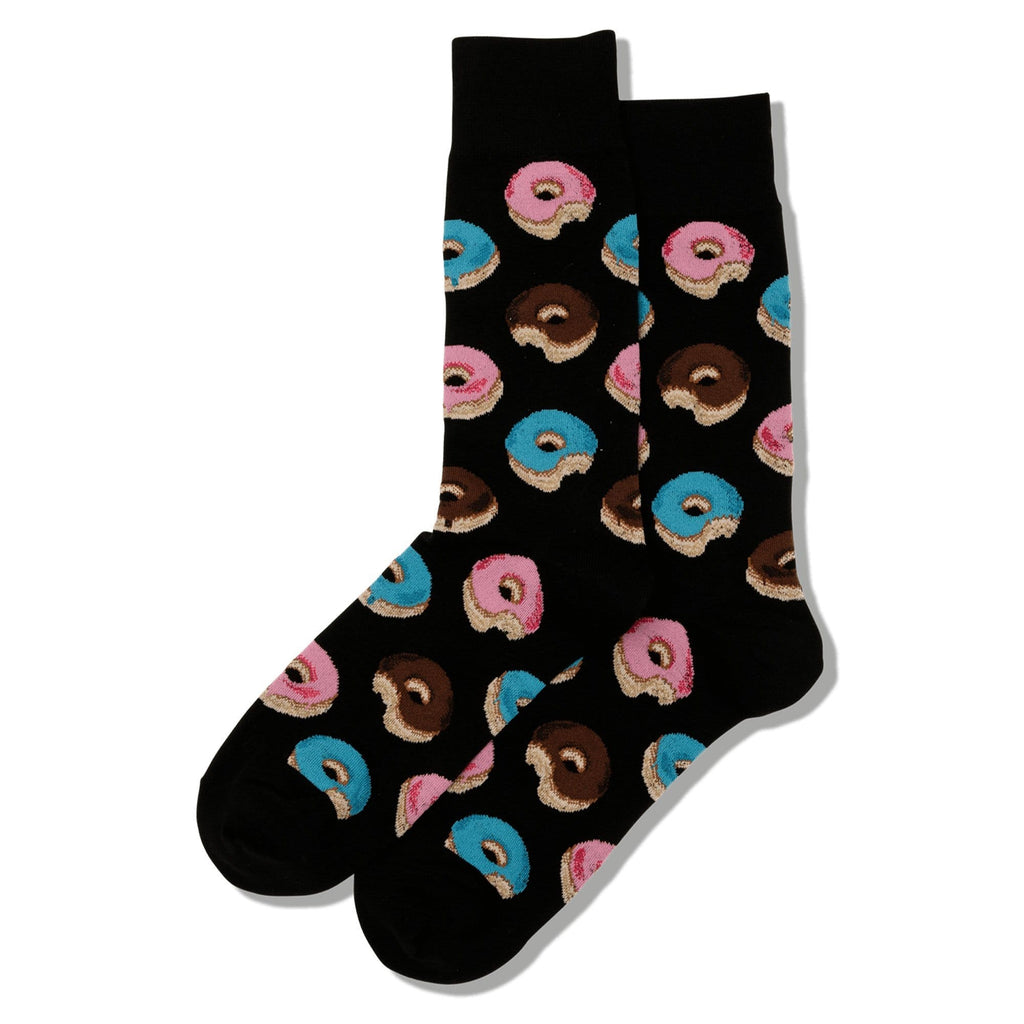 Hot Sox Donuts Men's Crew Socks Cotton Black | Simons Shoes