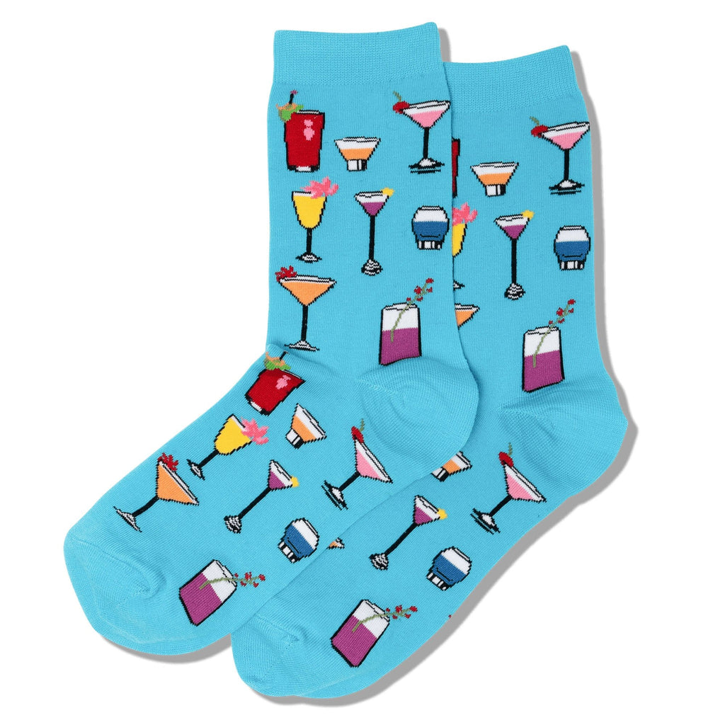 Hot Sox Tropical Drinks Women's Crew Socks Cotton Blend | Simons Shoes