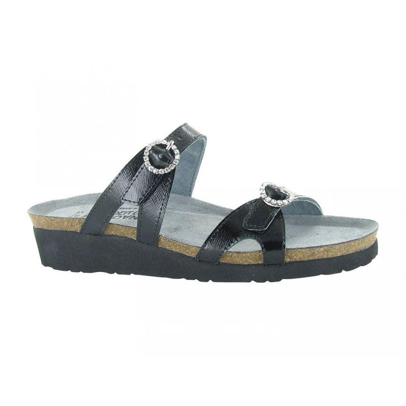 Naot's Kate Women's Jeweled Buckle Leather Slide Sandal B96 Black Luster | Simons Shoes