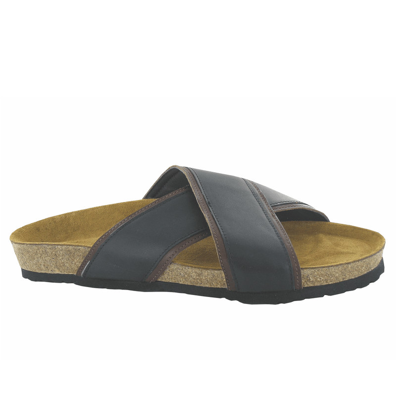 Naot Cheyenne Men's Leather Crisscross Slip On Slide Sandal Cork Shoe