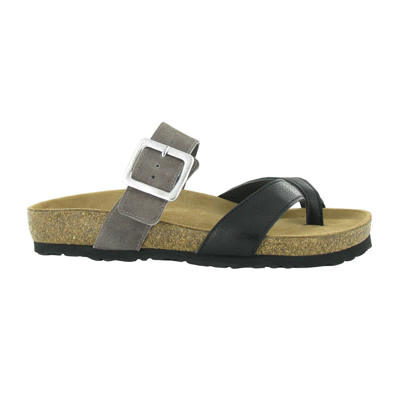 Naot Fresno Women's Buckled Slide Black and Taupe Leather Sandal | Simons Shoes
