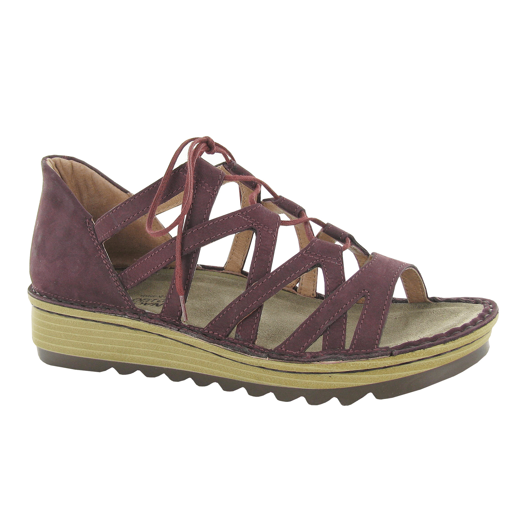 Naot Yarrow Women's Leather Cutout Gilly Wedge Gladiator Sandal Shoe