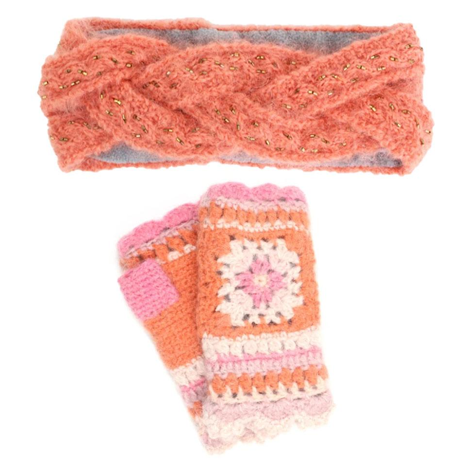 French Knot Peach Winter Warm Gift Box - Headband + Hand Warmer