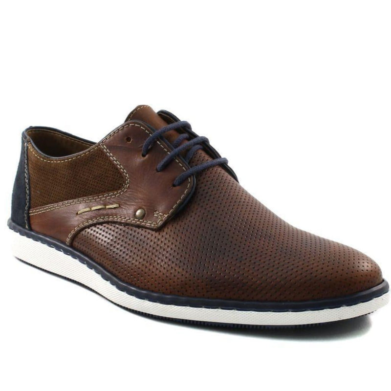 Rieker 17824 Men's Perforated Leather Casual Oxford Comfy Lace Up Shoe