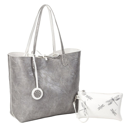 Sydney Love Women's Reversible Vegan Medium Tote with Pouch (22727)