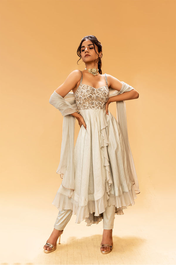 Ice Grey Anarkali With Pants And Dupatta