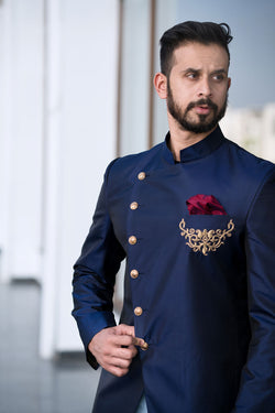 Navy Blue Embroidered Jodhpuri Kurta