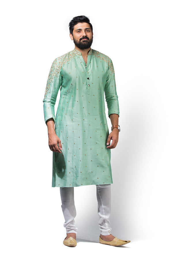 Mint Green Kurtha with Embroidery