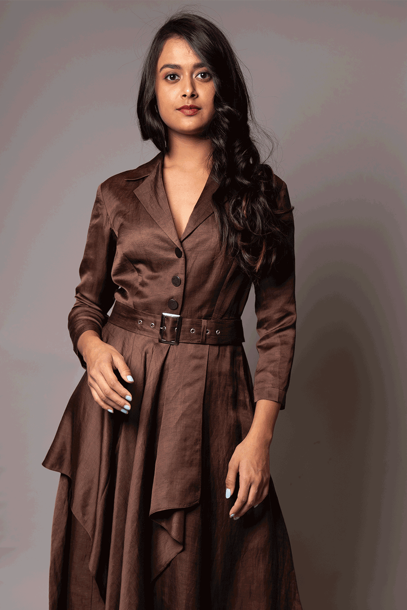 Coffee Brown Belted Tunic With Attached Drape