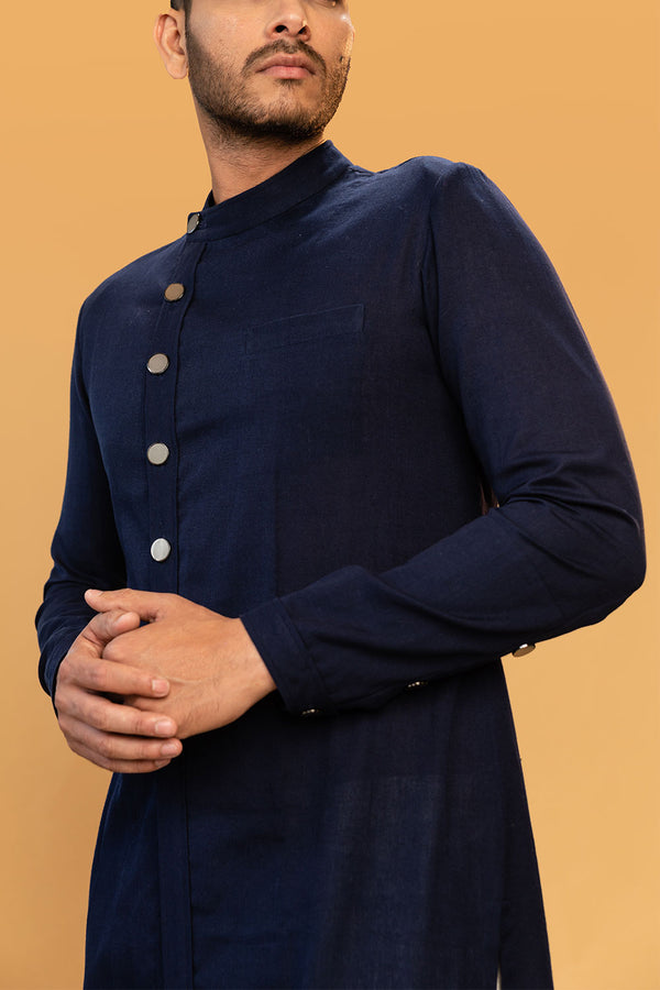 Navy Blue Side Button Down Kurtha
