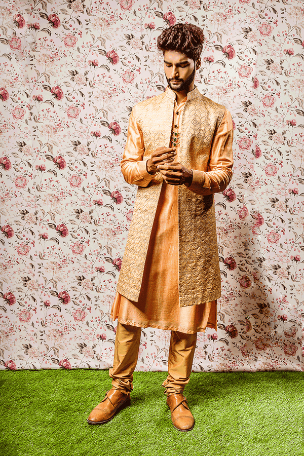 Ivory Orange Kurta with Long Embroidered Jacket
