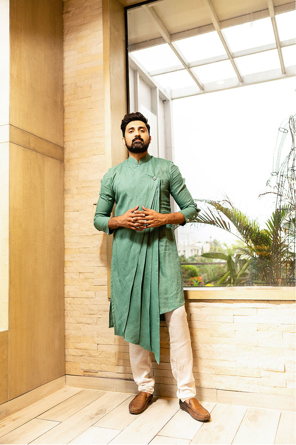 Green Cross Pleated Kurtha