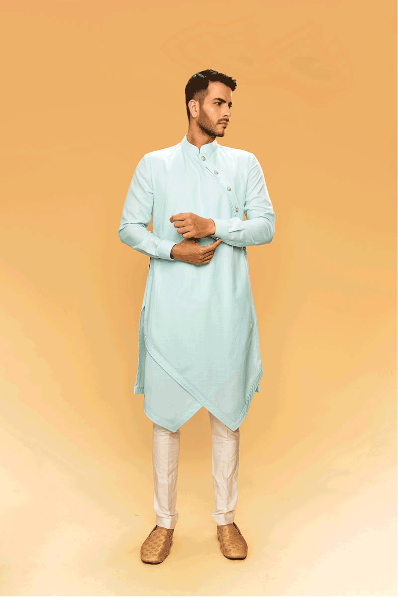 Light Blue Asymmetric Kurtha