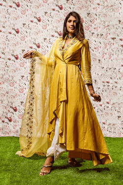 Yellow High-low Dress With Duapatta