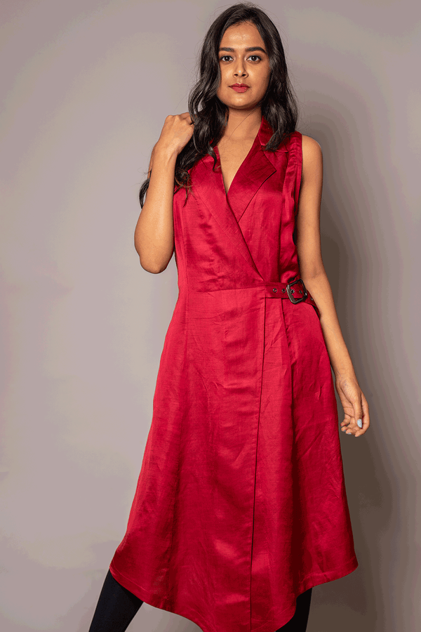 Red  Wrap Belted Tunic With Notched Collar
