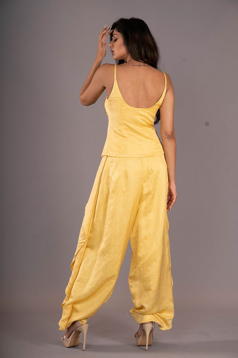 Yellow Studded Corset Top With Harrem Pants