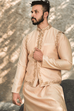 Peach Kurtha And Jacket With Pants