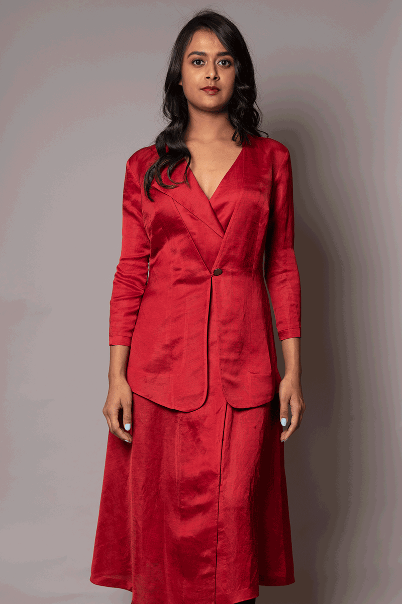 Red Jacket Style Tunic With Flap Collar