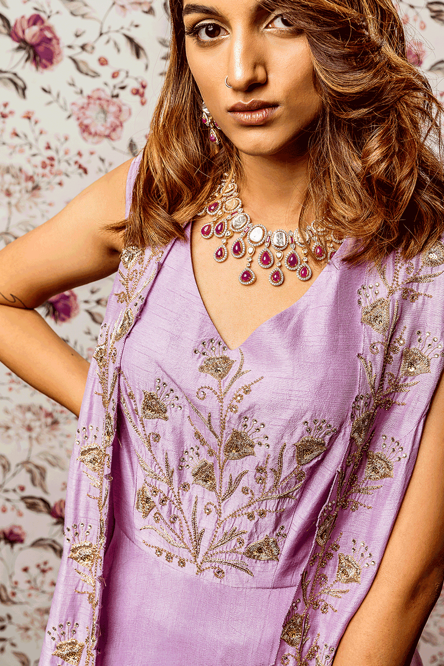 Lavender Cutwork Embroidered Dress With Long Cape
