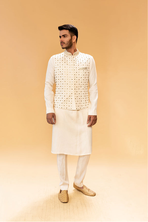 White Kurtha with Gold Studded Jacket