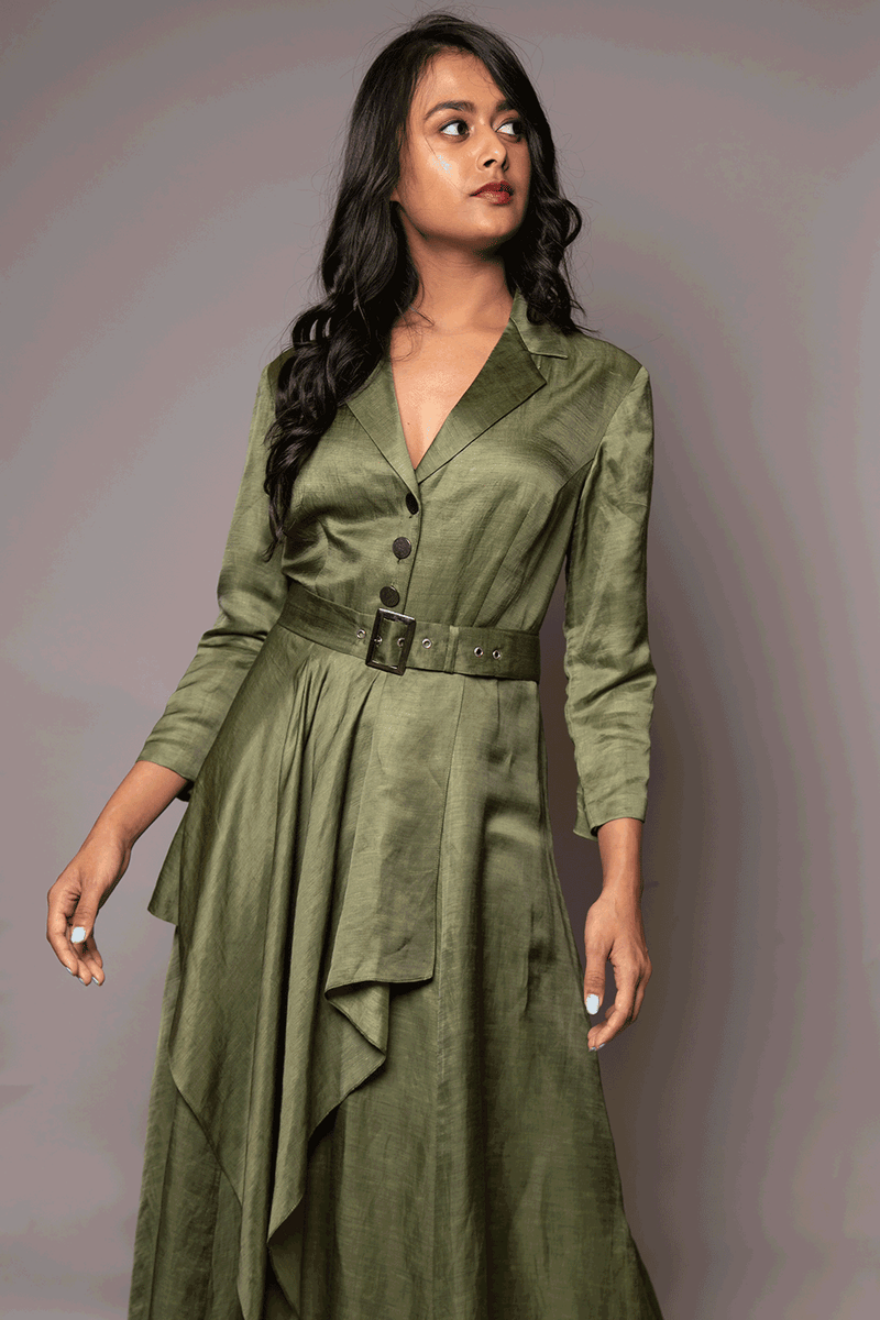 Olive Green Belted Tunic With Attached Drape
