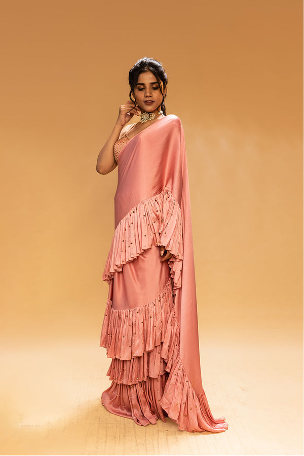Dusty Pink Saree with  Detached Drape and Blouse