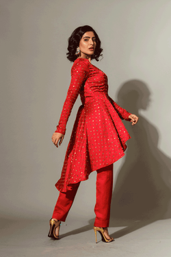 Red Studded Tailcoat Tunic