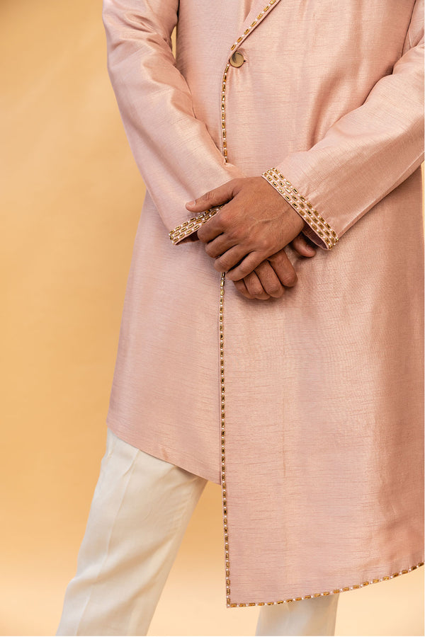 Powder Pink Men's Kurtha With Collar