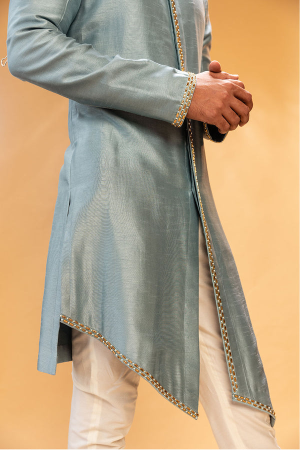 Dusty Blue Kurtha with Assymetric Cut