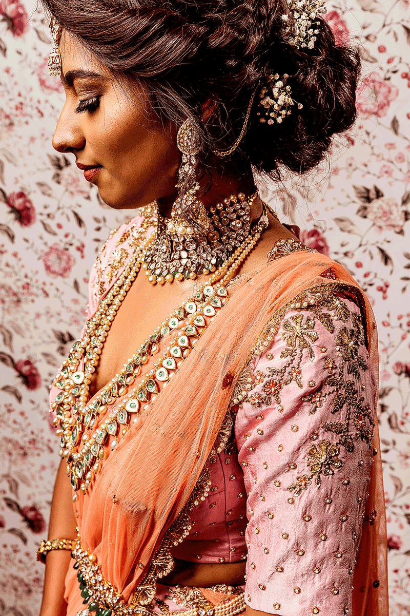 Pink Lehenga With Peach Dupatta