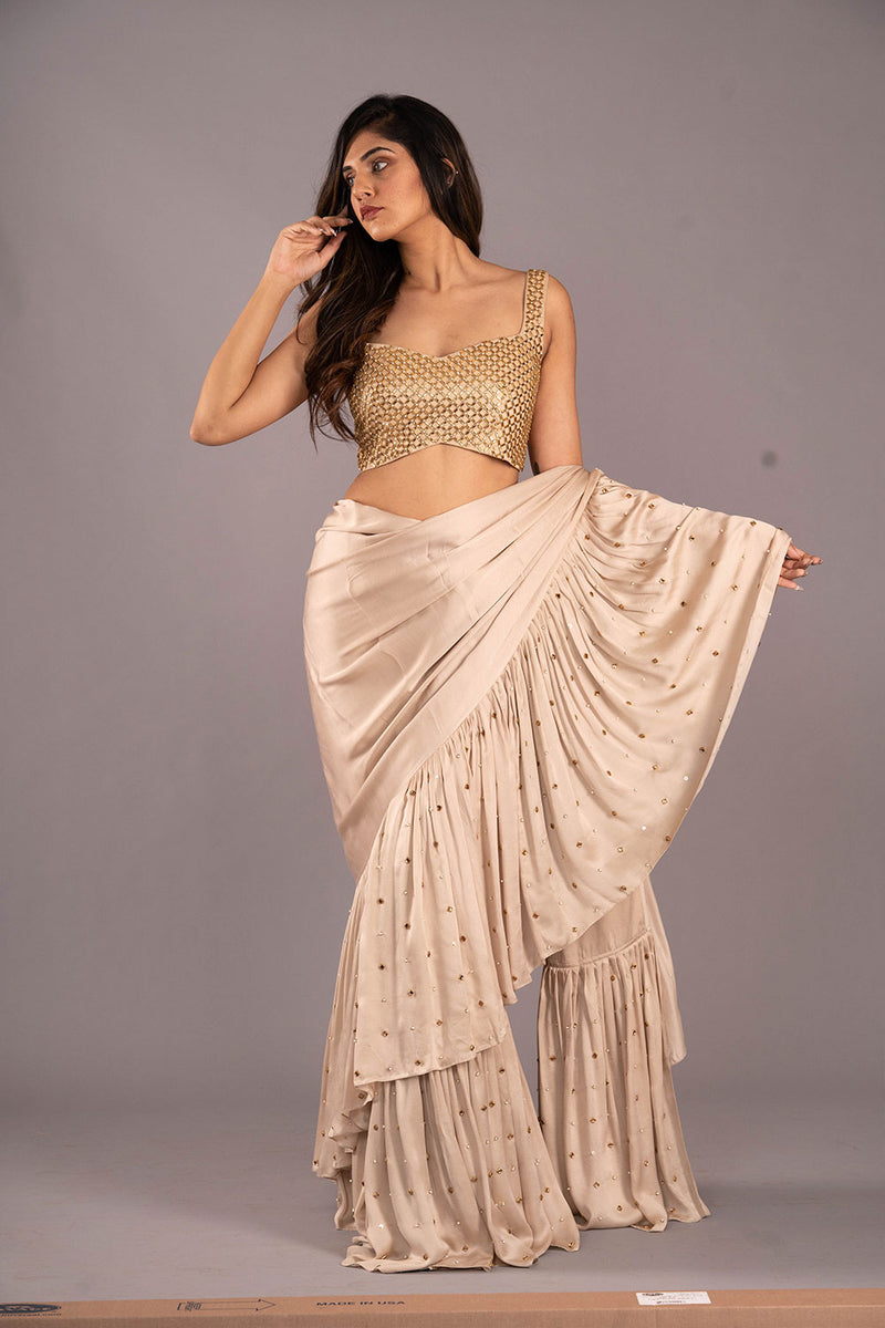 Gold Ivory Studded Ruffle Saree With Heavy Studded Blouse