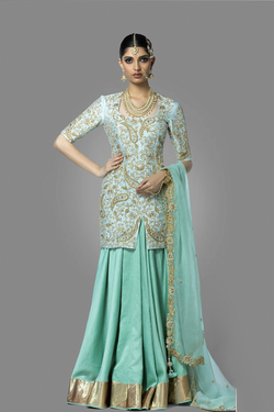 Aqua Blue Kurti with Skirt and Dupatta