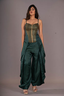 Emerald Green Studded Top With Harrem Pants