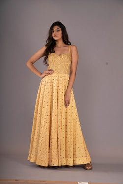 Yellow Corset Studded Maxi Dress