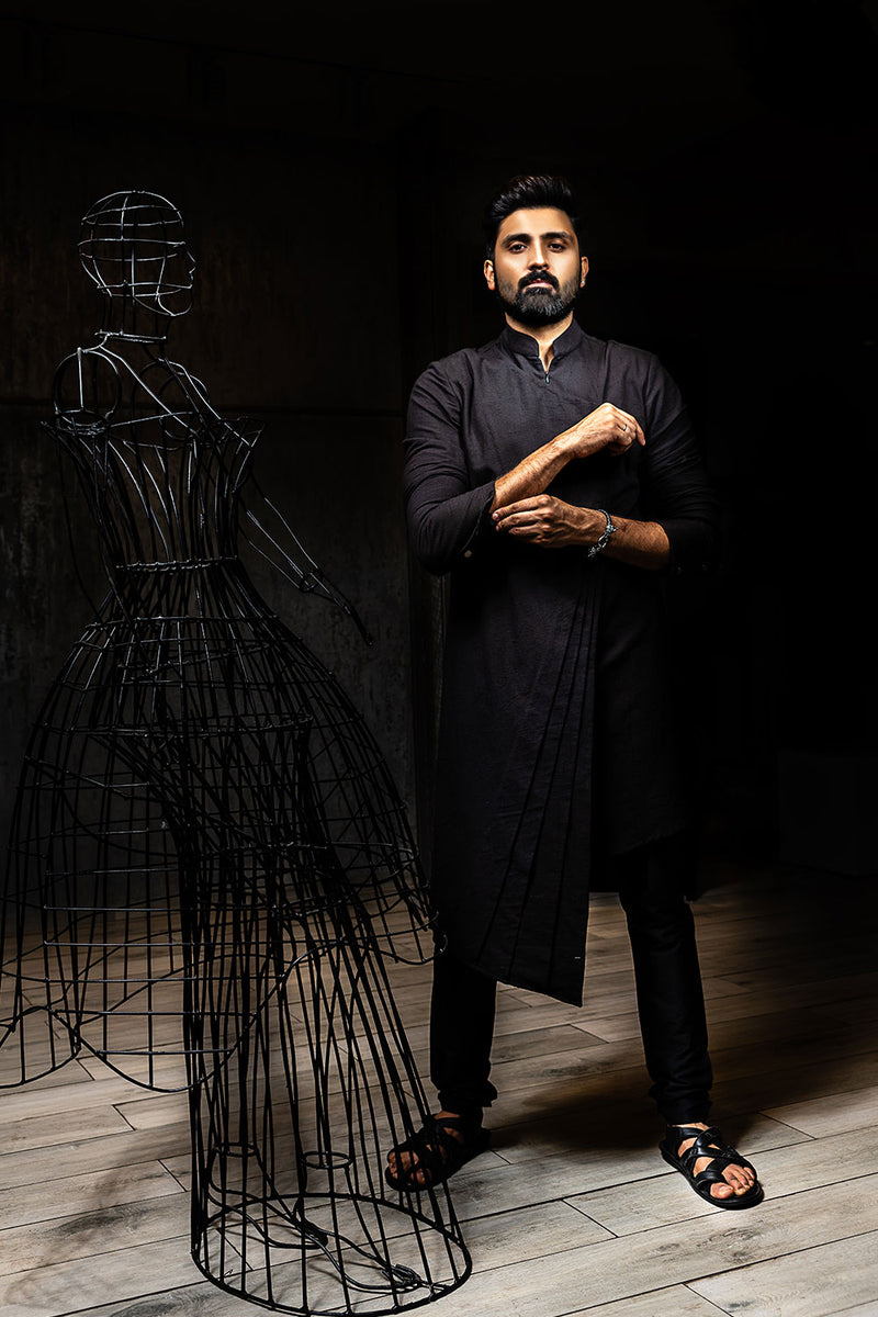 Black Cross Pleated Kurta