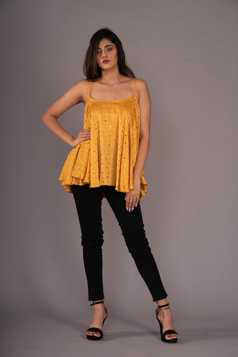 Mustard Yellow Studded Flared Top