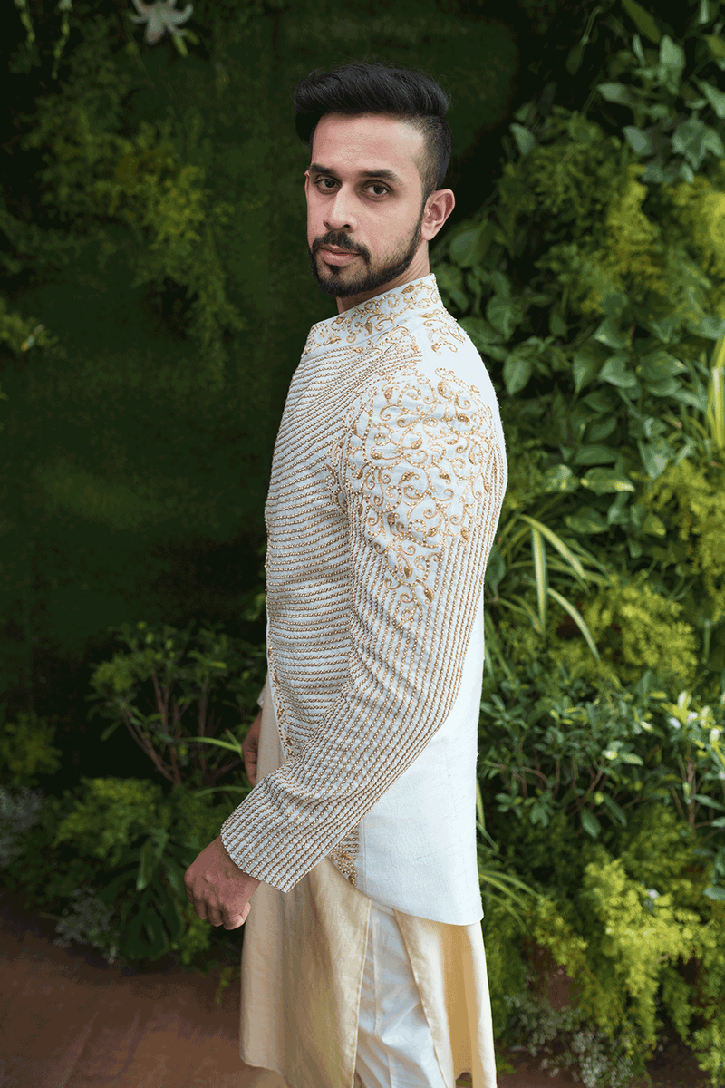 Light Blue Jacket With Beige Kurta And Pants