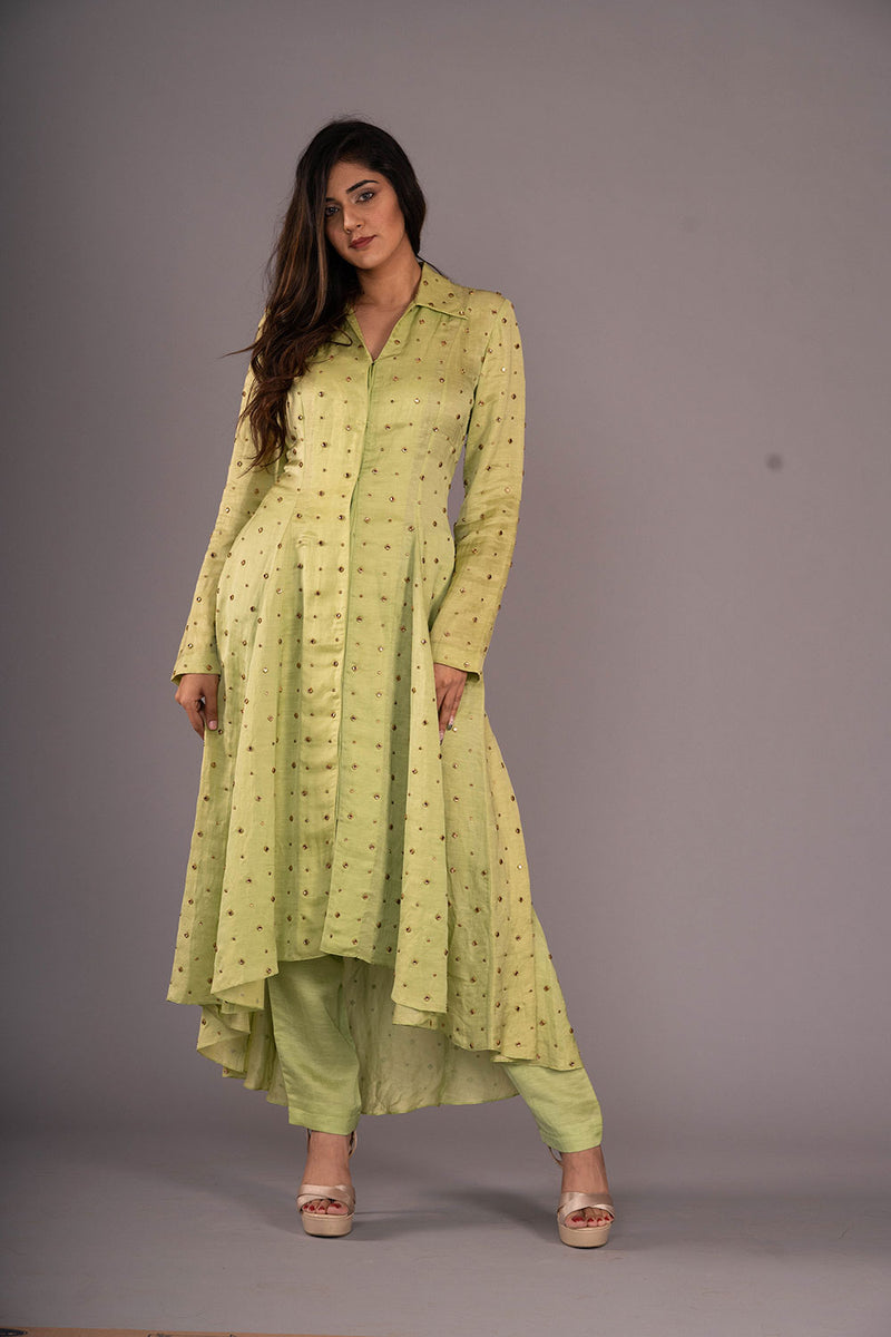 Light Green Studded Tailcoat Tunic With Pants
