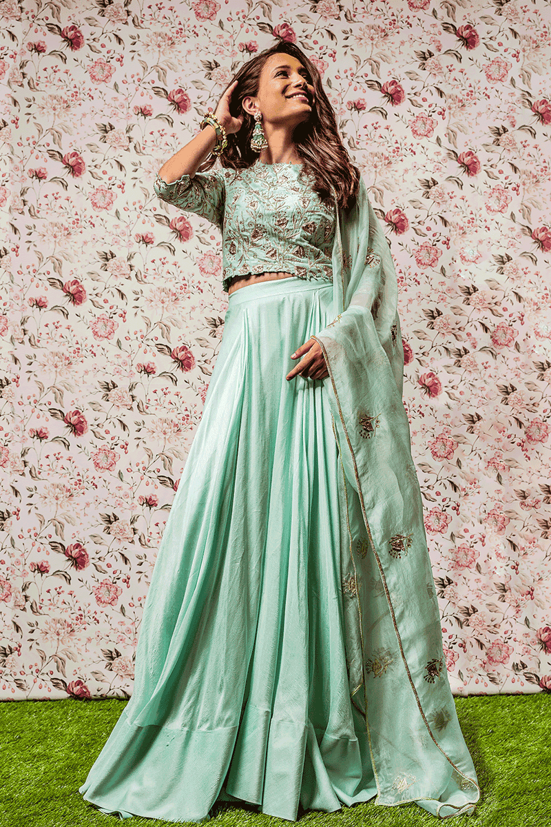 Sea Green Embroidered Crop Top And Skirt With  Dupatta