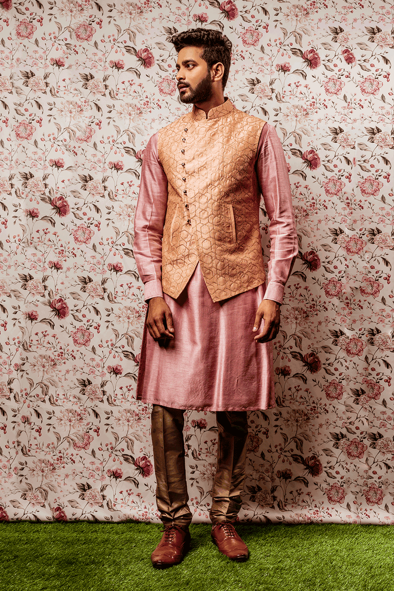 Pink Kurtha With Peach Embroidered Jacket