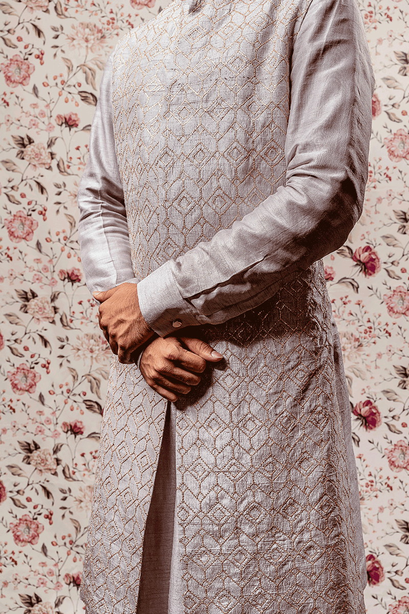 Grey Kurtha With Long Embroidered Jacket