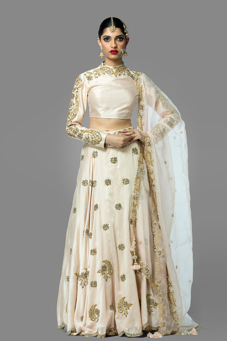 Ivory Blouse and Skirt with Dupatta