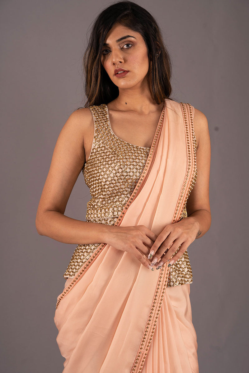 Ivory Gold Studded Peplum Blouse With Studded Saree