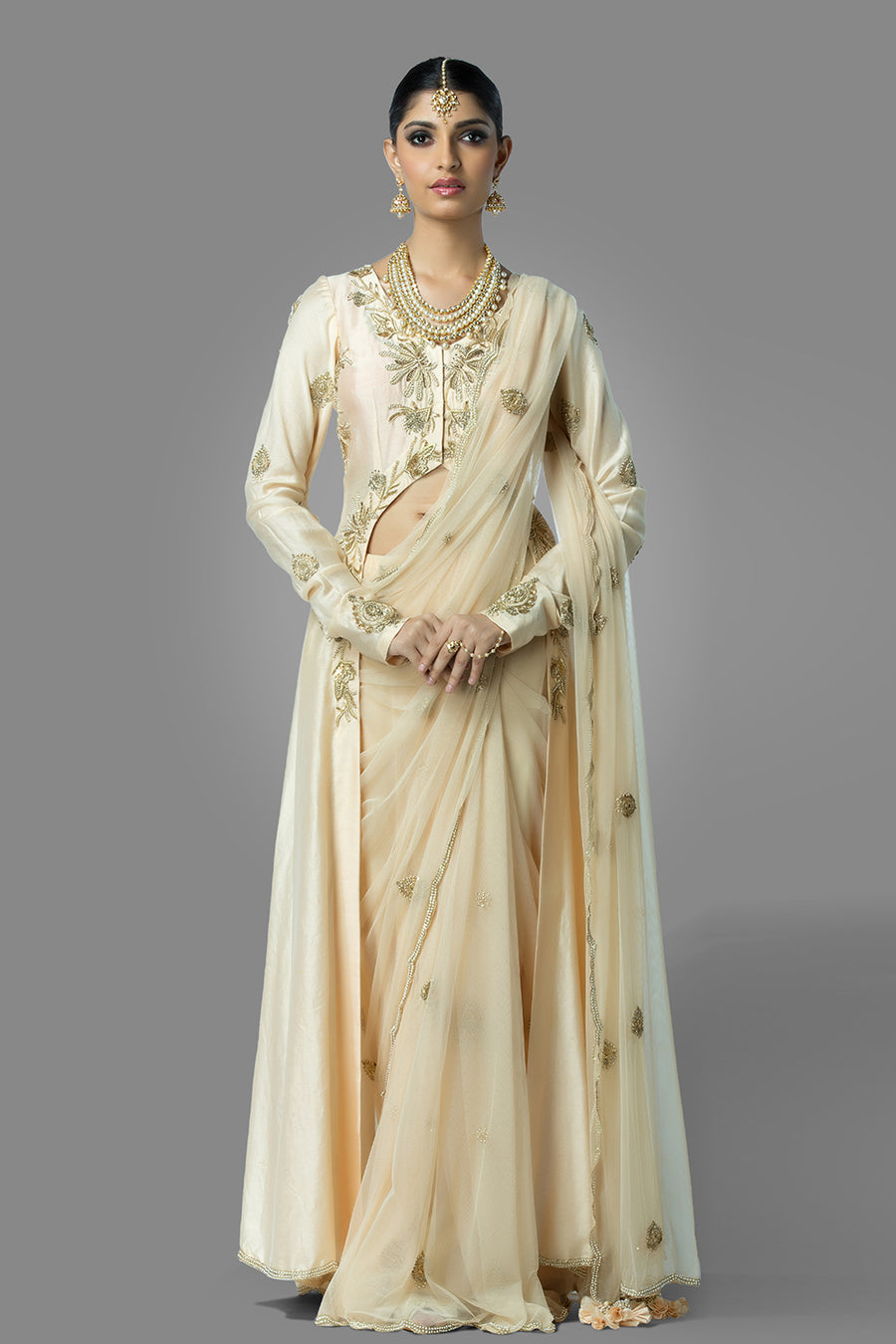 Ivory Long Slit Blouse with Saree