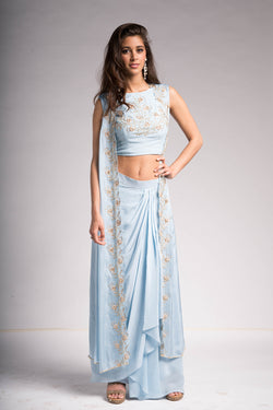 Frost Blue Embroidered 3 Piece Set